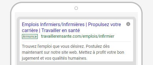 Exemple de publicité textuelle Google Ads