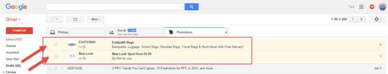 Exemple d'une publicité Gmail