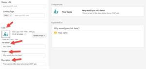 Exemple d'une publicité Gmail standard