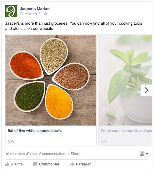 Exemple pub Facebook carrousel