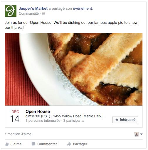 exemple pub Facebook réponse événement