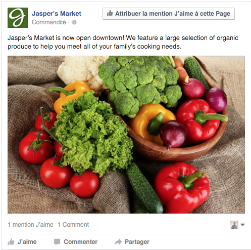 exemple publicité Facebook