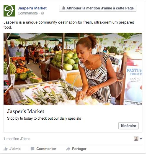 exemple pub Facebook notoriété locale