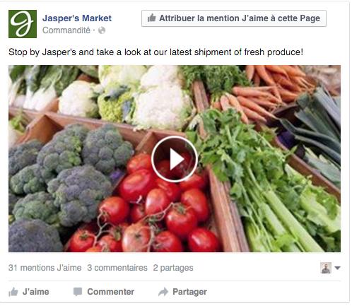 exemple pub Facebook vidéo