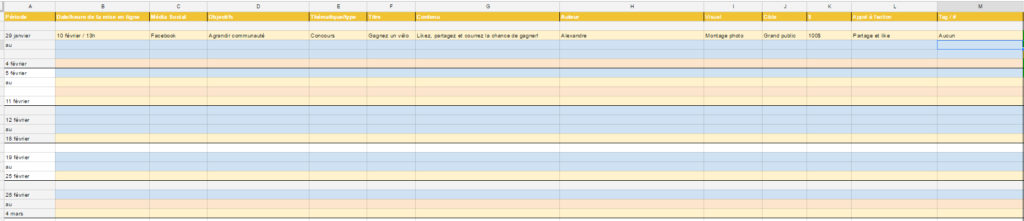 Screenshot d'un calendrier de publication Google Sheets