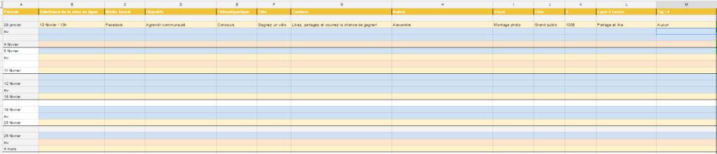 Screenshot d'un calendrier de publication Google Sheets