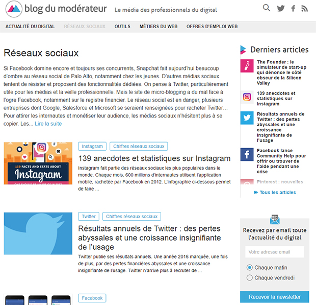 Screenshot Blog du modérateur