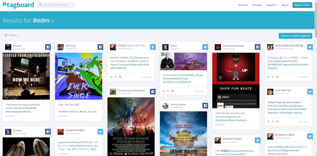 Screenshot de Tagboard